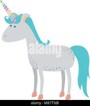 white background with cartoon unicorn standing - Stock Photo