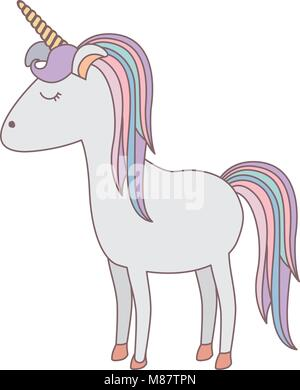 white background with cartoon unicorn standing with closed eyes and rainbow mane - Stock Photo
