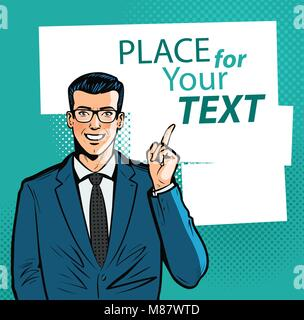 Happy businessman pointing index finger at important information. Business concept. Cartoon vector illustration - Stock Photo