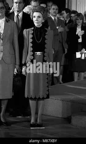 Washington. DC., USA February 28, 1984 First Lady Nancy Reagan stands with Austrian First Lady Herma Kirchschlager - Stock Photo