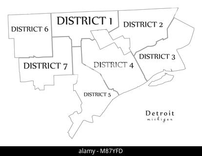 Simple map of Detroit, Michigan, USA. Black and white version for ...