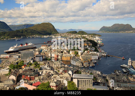 View of the town centre of Ålesund from the top of the hill 'Aksla' - Stock Photo