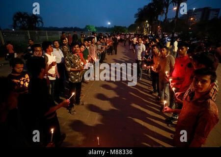 """DHAKA, BANGLADESH – MARCH  15, 2018: """"Protibondhi nagorik shangathaner parishad"""" organised a candlelight vigil at - Stock Photo"""