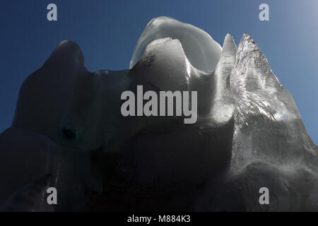 Santiago, Chile. 15th Mar, 2018. A view of a 19 tonnes glacier during the Lollapalooza music festival in Santiago, - Stock Photo
