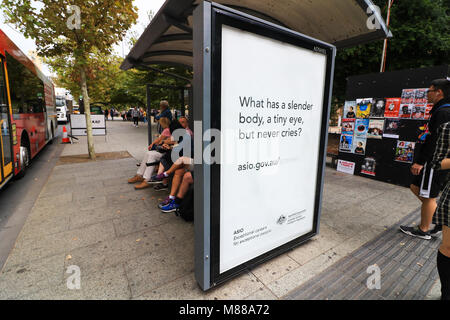 Adelaide Australia 16th March 2018.  A poster recruitment ad on a bus shelter  in Adelaide by (ASIO), the  Australian - Stock Photo