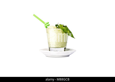Fresh green apple smoothies with a straw. - Stock Photo