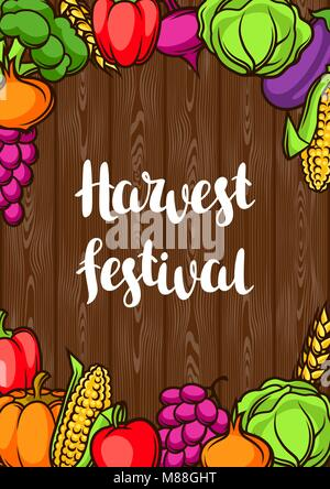 Harvest festival poster. Autumn illustration with seasonal fruits and vegetables Stock Photo
