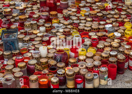 Memorial Candles at The Kaiser Wilhelm Memorial Church, Breitscheidplatz, Berlin, Germany. - Stock Photo