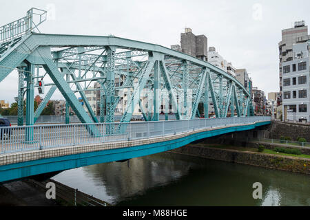 Iron bridge in Nishi Chaya district, a traditional japanese style district in Kanazawa, Japan - Stock Photo