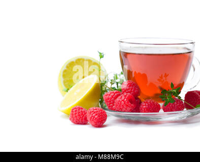 Red  fruit tea with lemon and raspberry isolated on white background - Stock Photo