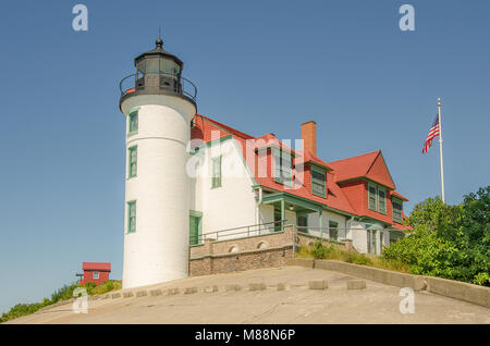 Construction of Point Betsie Lighthouse began in 1854.  It was completed in 1858 but wasn't used until 1859. - Stock Photo