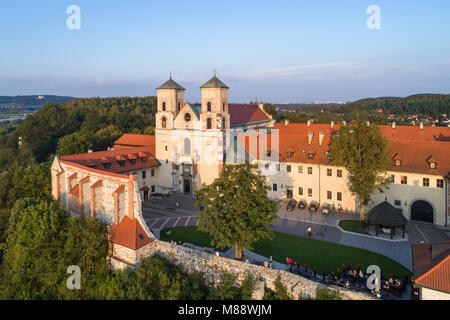 Tyniec near Krakow, Poland. Benedictine abbey and Saint Peter and Paul church on the rocky hill at Vistula River. - Stock Photo