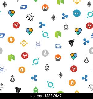 Cryptocurrency seamless pattern. Crypto currency background. Vector illustration - Stock Photo