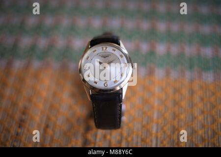 Close-up of vintage Longines men's wristwatch - Stock Photo