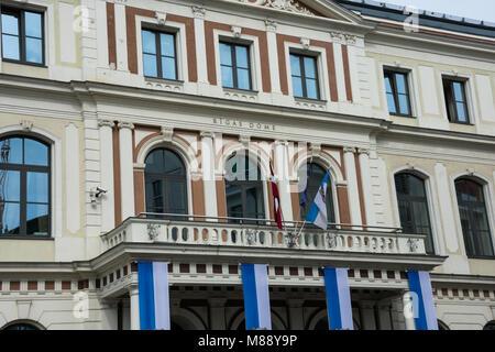 Riga, Latvia. August 21, 2017. Riga City Council (Rigas Dome) - Stock Photo
