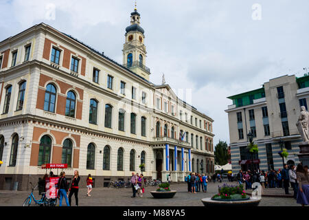 Riga, Latvia. August 21, 2017. Town Hall Square and the Riga City Council (Rigas Dome) - Stock Photo