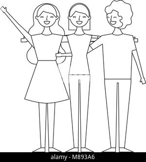 people character women and man hugging friends cartoon vector illustration thin line - Stock Photo