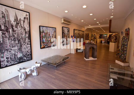 Paintings at art gallery 'Galerie des Lices' at old town of Saint-Tropez, french riviera, South France, Cote d'Azur, - Stock Photo