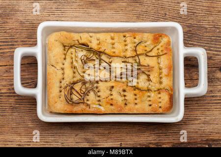 italian focaccia bread on wood - Stock Photo