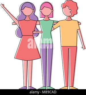 people character women and man hugging friends cartoon vector illustration - Stock Photo
