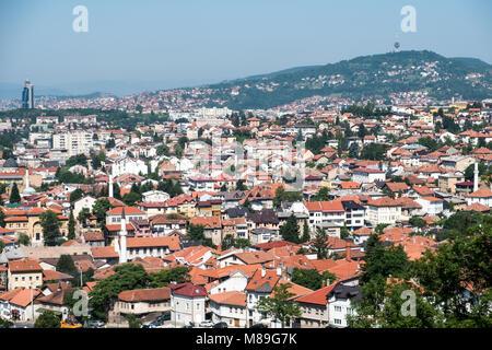 View on the city of Sarajevo, Bosnia and Herzegovina - Stock Photo