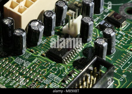 PC circuit board with components - Stock Photo