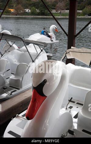 Swan paddle boats at Echo Park lake in Los Angeles, CA - Stock Photo