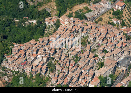 Aerial image of the town of Artena in the Metropolitan City of Rome, Italy - Stock Photo