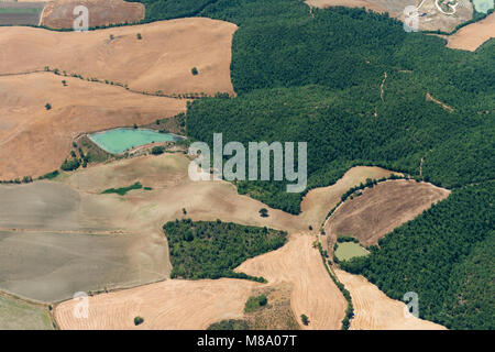 Aerial image of the countryside between Tuscania and Viterbo, typical for the Viterbo province - Stock Photo