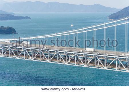 Great Seto Bridge view from Mt.Washu, Kurashiki City, Okayama Prefecture, Japan. - Stock Photo
