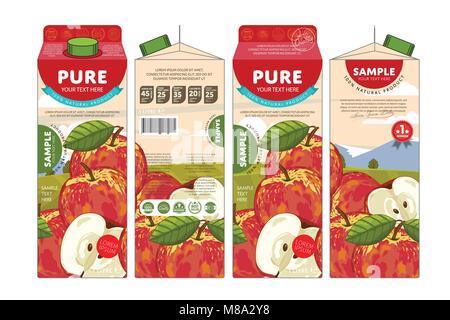 Template Packaging Design Apple Juice - Stock Photo