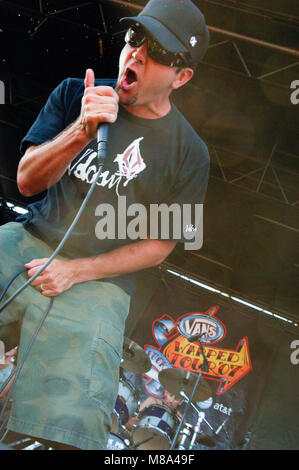 Jim Lindberg of Pennywise performs on stage during the Vans Warped Tour 2007. - Stock Photo
