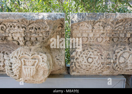 Israel, Sea of Galilee, the ruins and excavations at Capernaum - Stock Photo