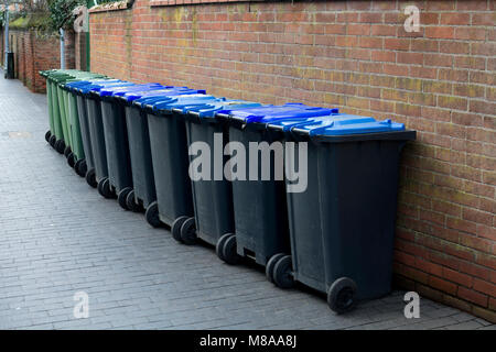 A row of domestic waste bins in a street, Stratford-upon-Avon, UK - Stock Photo