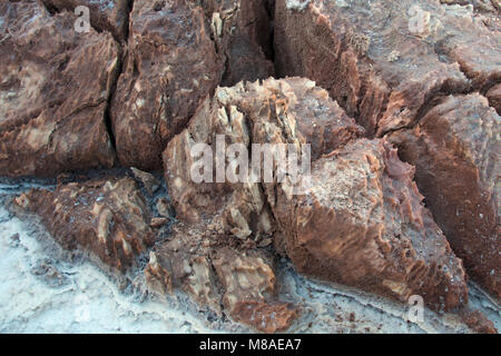 Abstract background of pink salt deposits and white desert land of Danakil, Afar Basin, North Ethiopia. - Stock Photo
