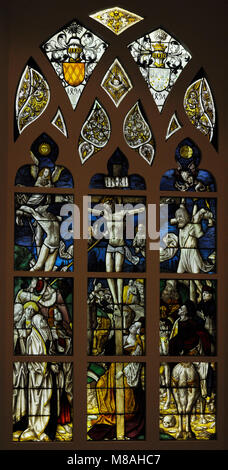Crucifixion. Stained glass. Cologne, c. 1490-1500. Schnütgen Museum. Cologne, Germany. - Stock Photo