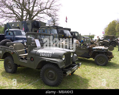 Vintage Military vehicles on display at Stradsett steam and vintage rally, Norfolk - Stock Photo