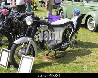 Classic Triumph motorbike at Stradsett rally, Norfolk - Stock Photo