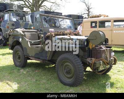 Classic jeep on display at Stradsett rally, Norfolk - Stock Photo