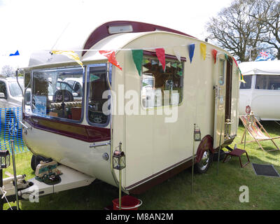Classic Sterling caravan at stradsett rally, Norfolk - Stock Photo