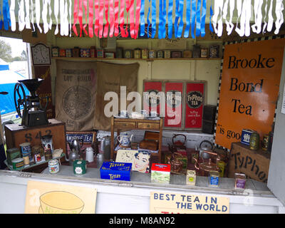 Display of vintage and modern tea packaging at Stradsett rally, Norfolk - Stock Photo