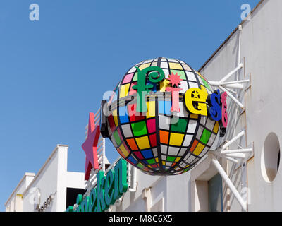 ALBUFEIRA, SOUTHERN ALGARVE/PORTUGAL - MARCH 10 : Colourful Street Signs in Albufeira in Portugal on March 10, 2018 - Stock Photo