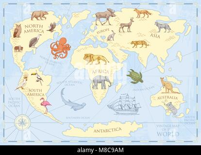 Vintage world map with wild animals and mountains. Sea creatures in the ocean. Old retro parchment. wildlife on - Stock Photo