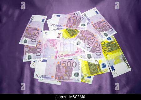 200, 500 Euro notes background texture - mingled pile - Stock Photo