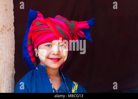 young Pa O lady wearing colourful headscarf at Shwe Indein Pagoda complex, Inle Lake, Shan State, Myanmar (Burma), - Stock Photo