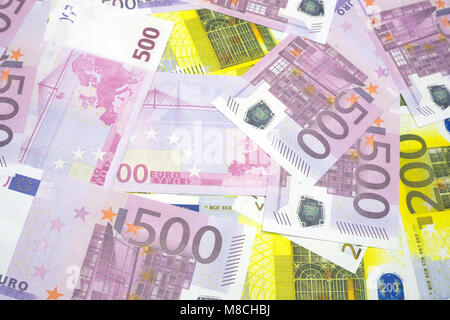 Various Euro banknotes of 200 and 500 Euro banknotes of Different texture - Stock Photo