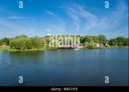 Wallmuseum slavic village wit the lake Wallsee, Oldenburg in Holstein, Baltic Sea, Schleswig-Holstein, Germany, - Stock Photo