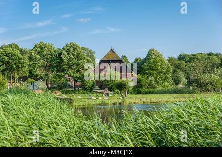 Wallmuseum slavic village wit the lake Wallsee, Oldenburg in Holstein, Baltic Sea, Schleswig-Holstein, Germany, - Stock Photo