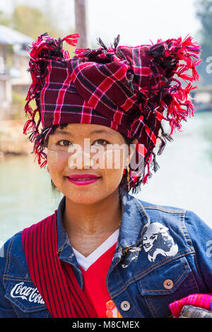 young Pa O lady at Indein village wearing Manchester United shirt and denim jacket, Inle Lake, Shan State, Myanmar - Stock Photo