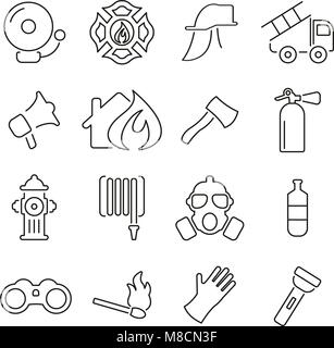 Fireman or Fire Rescue Icons Thin Line Vector Illustration Set - Stock Photo
